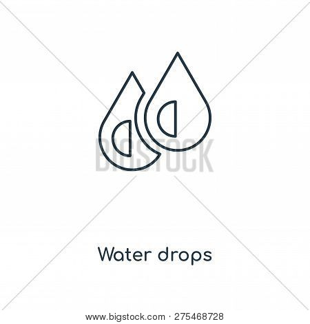 Water Drops Icon In Trendy Design Style. Water Drops Icon Isolated On White Background. Water Drops