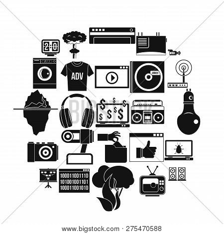 Telly Icons Set. Simple Set Of 25 Telly Vector Icons For Web Isolated On White Background