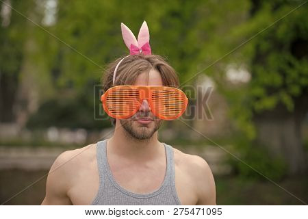 Man, Playboy, Valentines Day, Easter., Love Games. Sexy Muscular Man In Glasses And Pink Ears On Nat