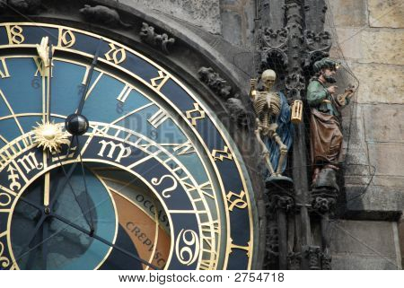 detail of the famous astronomical clock on town square Prague poster
