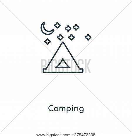 Camping Icon In Trendy Design Style. Camping Icon Isolated On White Background. Camping Vector Icon