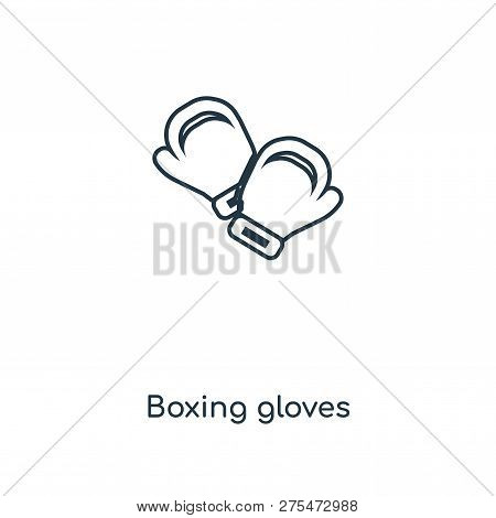Boxing Gloves Icon In Trendy Design Style. Boxing Gloves Icon Isolated On White Background. Boxing G
