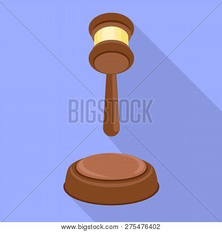 Judge Hammer Decision Icon. Flat Illustration Of Judge Hammer Decision Vector Icon For Web Design