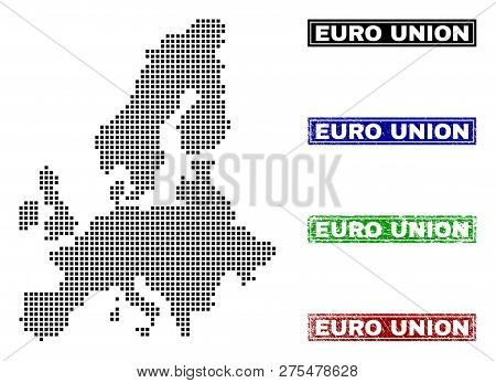 Dot Vector Abstract Euro Union Map And Isolated Clean Black, Grunge Red, Blue, Green Stamp Seals. Eu
