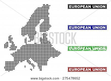 Vector Dot Abstract European Union Map And Isolated Clean Black, Grunge Red, Blue, Green Stamp Seals