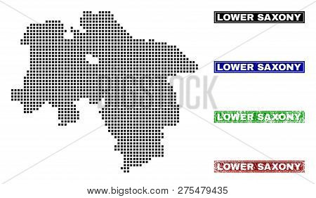 Dot Vector Abstracted Lower Saxony Land Map And Isolated Clean Black, Grunge Red, Blue, Green Stamp