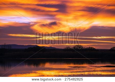 Sunrise at Bosque Del Apache, San Antonio,New Mexico poster