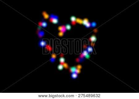 Colorful Blur Blinker In Heart Shaped On Black