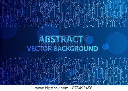 Abstract Futuristic Circuit Board, Illustration High Computer Technology Dark Blue Color Background.
