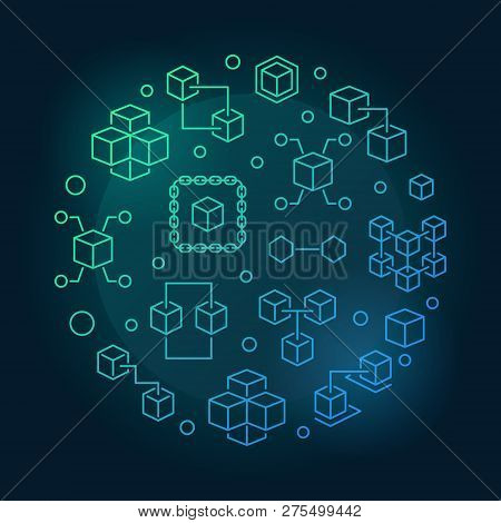 Blockchain Crypto Vector Round Blue Bright Illustration In Outline Style On Dark Background