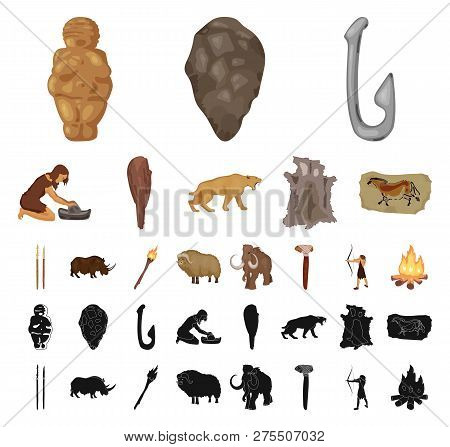 Life In The Stone Age Cartoon, Black Icons In Set Collection For Design. Ancient People Vector Symbo