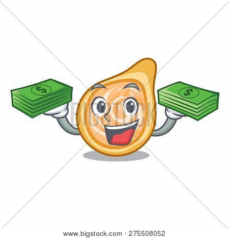 With Money Chicken Coxinha Isolated On A Mascot