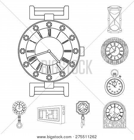 Isolated Object Of Clock And Time Icon. Set Of Clock And Circle Stock Vector Illustration.