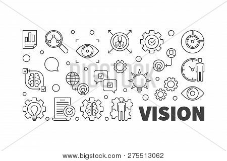 Vision Vector Line Horizontal Illustration. Business Vision Concept Linear Banner