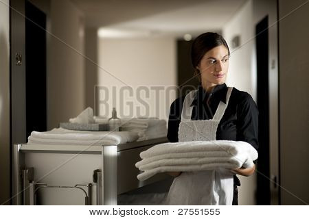 Mädchen mit Haushaltung-Karre