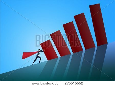 Man Pushing Graph On Hill. Symbol Of Difficulty, Ambition, Motivation, Struggle.  Illustration