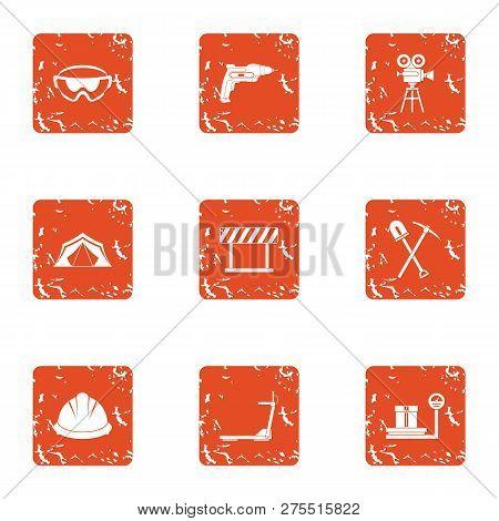 Land Development Icons Set. Grunge Set Of 9 Land Development Icons For Web Isolated On White Backgro
