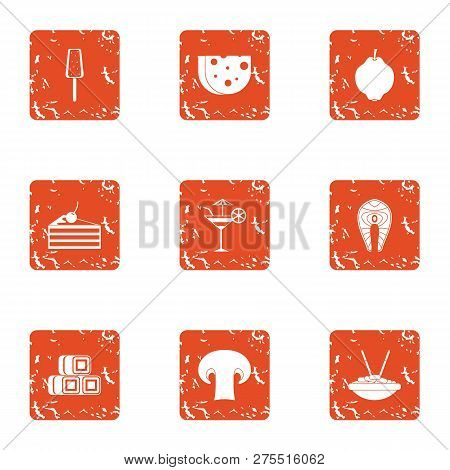 Pricey snack icons set. Grunge set of 9 pricey snack icons for web isolated on white background poster