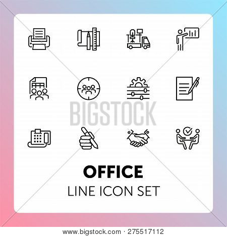 Office Line Icon Set. Printer, Presentation, Supply. Business Concept. Can Be Used For Topics Like O