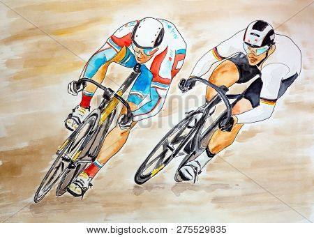 Two bicyclists racing - hand made drawn graphic and watercolor artistic illustration poster