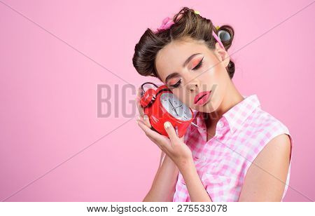 Retro Woman With Alarm Clock. Time. Pinup Girl With Fashion Hair. Good Morning. Time Management. Pin