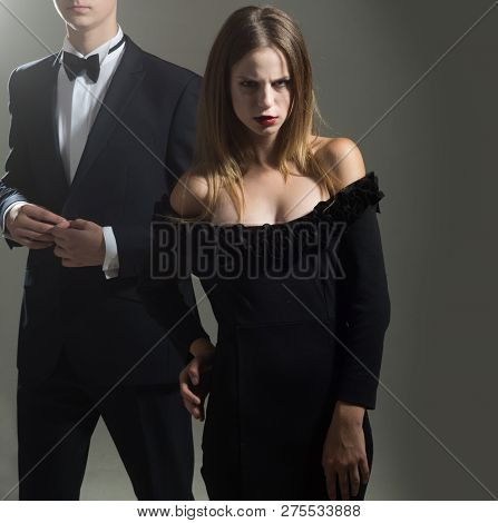 Elegant Couple In Love. Valentines Day. Love. Loving Couple Together At Business Meeting. Cute Man A