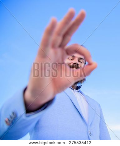 Excellent Concept. Man Bearded Businessman Formal Suit Watching Through Fingers. I Am Watching You.