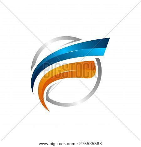 Circle Swoosh Orbit Vector And Satellite Cosmos Logo. Planet Best Logo.