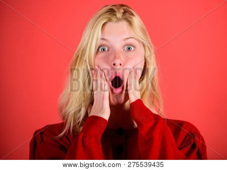 Shocking News Concept. Girl Shocked Overwhelmed By Surprise. Surprised Woman Cant Believe Her Eyes.