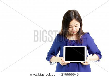 Portrait Of Asian Women In Blue Shirt Showing The Empty Black Screen Tablet Close Up.  Isolated On W