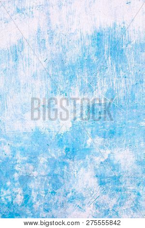 Empty Concrete Wall Painted With Blue Color Background.