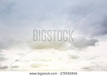 View Of Cloudy Sky With Sun Lighting.