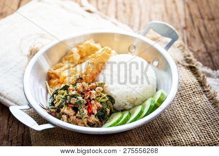 Original Fried Basil With Pork Served With Jasmine Rice And Fried Egg.