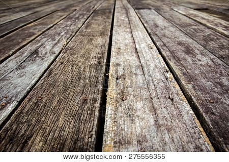 Wide Angle View Of An Old Wooden Floor Close Up Background.
