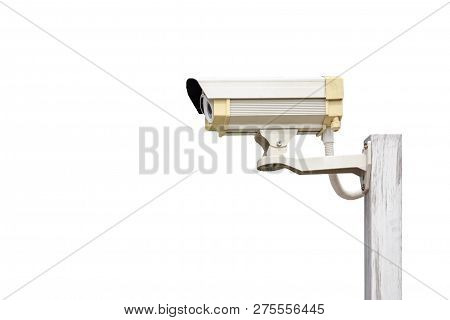 Close Circuit Television (cctv) Camera Installed.  Isolated.