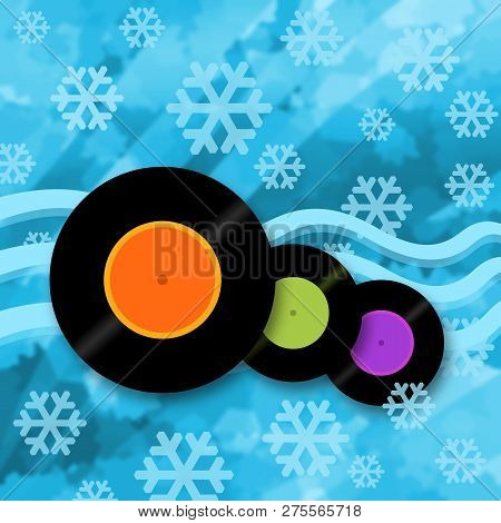 Cool Winter Music Background With Vinyl Records, Show And Ice