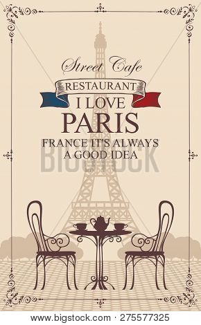 Vector Menu For Parisian Street Cafe With View Of The Eiffel Tower, With Table And Chairs In Retro S