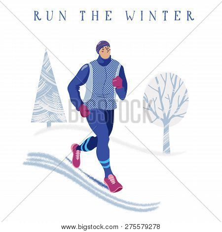 2f983bc3c0 Winter running concept - young athletic man in warm clothes jogging in  park