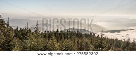 View From Lysa Hora Hill In Moravskoslszeks Beskydy Mountains With Many Mountain Ranges During Autum