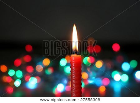 Red Candle On Dark Background