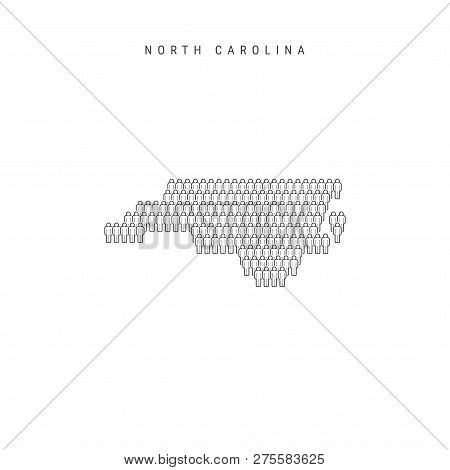 Vector People Map Of North Carolina, Us State. Stylized Silhouette, People Crowd In The Shape Of A M