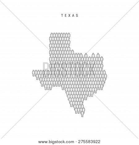 Vector People Map Of Texas, Us State. Stylized Silhouette, People Crowd In The Shape Of A Map Of Tex
