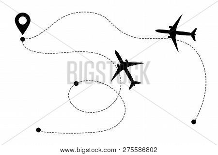 Airplane Line Path Vector Icon Of Air Plane Flight Route With Start Point, Transfer Point And Dash L