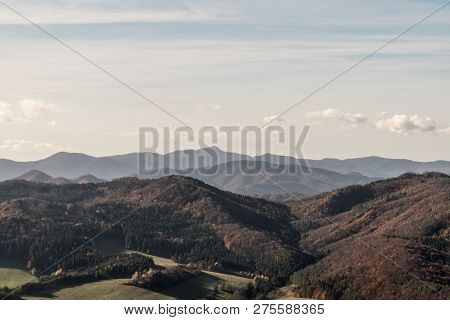 Autumn Mountain Panormama Of Sulovske Vrchy, Lucanska Mala Fatra And Strazovske Vrchy Mountains With