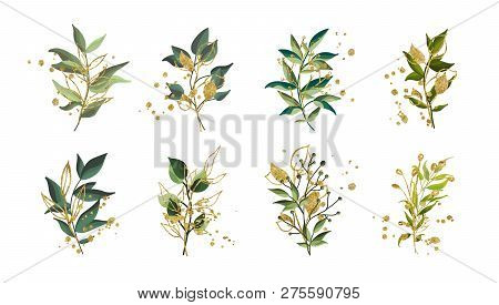 Gold Green Tropical Leaves Wedding Bouquet With Golden Splatters Isolated On White Background. Flora