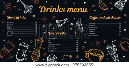 Cocktails, Coffee And Hot Drinks Menu Design Template With List Of Drinks And Images. Vector Outline