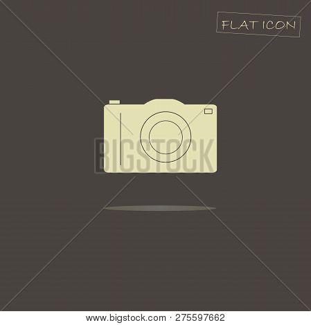 Flat Photo Camera Icon. Light Photo Camera On Dark Background. Icon Vector. Photo Camera Icon Object