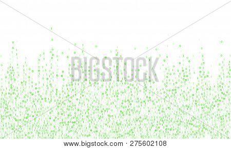 Streaming Binary Code Cyber Background. Big Data Concept, Neon Row Matrix Vector. Data Technology Co