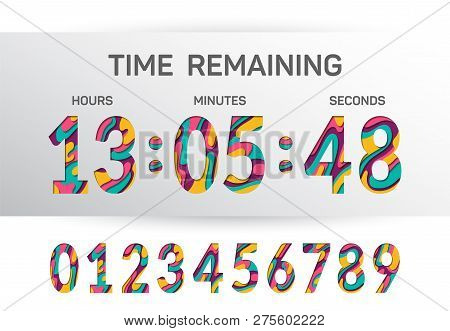 Countdown Clock Counter Timer Vector Template For Website. Papercut Style Time Remaining Count Down