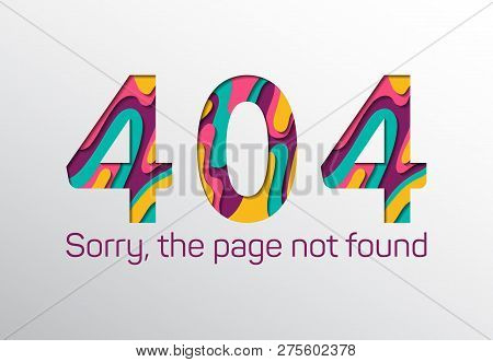 Web 404 Error the page not found with papercut numbers. Page does not exist vector concept. 404 warning alert for website with numbers in paper cut style in pink, blue, yellow. Page not found message poster